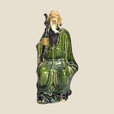 Chinese Mudman Seated Sage With Staff (Symbol of Authority) Circa 1880 - 1918.