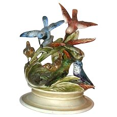 Borsato - Porcelain Masterpiece - Multi Figural Sculpture - Breathtaking!  With SIX Birds, Foliage and Even A Grasshopper!