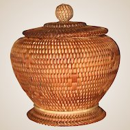 Finely Woven Vintage Basket.  Footed With Cover