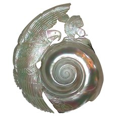Art Deco Shell Carved With Eagle And Sparrow Design