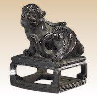 Antique Finely Carved Boxwood Netsuke (katabori) Of A Shi-Shi, Circa 19th Century