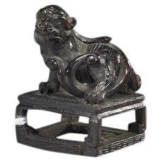 Antique Finely Carved Japanese Boxwood Netsuke (katabori) Of A Shi-Shi, Circa 19th Century