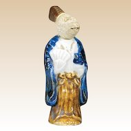 Antique Porcelain Netsuke, Monkey-Headed With Moveable Head Carrying A Fan, Very Unusual!