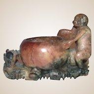 Hardstone Carving Of Monkey on Carved Base, Asian, Vintage, Adorable!
