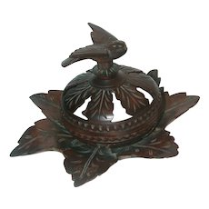 Carved Walnut Box With Bird Form Finial. Lovely Foliate Base