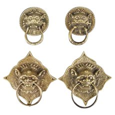 PAIR Of Asian Metal Drawer Pulls or Door Knockers With Fantasy Beasts' Heads, Vintage
