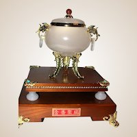 Marvelous Onyx Censer With Gilt Legs, Foliate Handles, Turquoise Insets On A Beautiful Stand