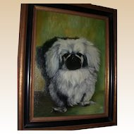 "Oil On Canvas - A. CLEIVA (American, 20th Century) - ""Pekingese Dog"""