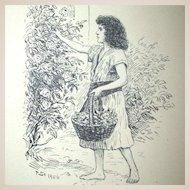 Antique Original Drawing by Poul Steffensen (1866-1923), Signed, Genre Scene