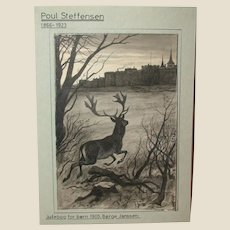 """Antique Original Drawing by Poul Steffensen (1866-1923), Signed and Dated 1905, For A """"Christmas Book For Children"""" (translated from Danish - """"Juleborg For Born)"""