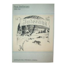 Antique Original Drawing by Poul Steffensen (1866-1923), Signed and Dated 1909