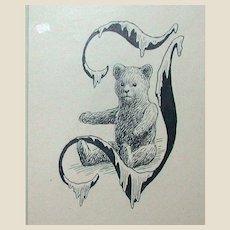 "Original Drawing - Poul Steffensen - Teddy Bear In A Stylized ""J"" - Circa 1917"