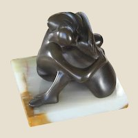 LARRY HAGMAN'S ESTATE - Signed Metal Sculpture Of Two Lovers