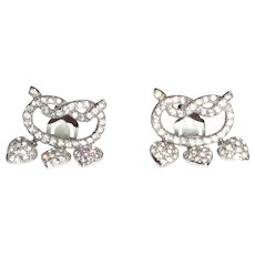 CHER:  Vintage Rhinestone Drop Heart Earrings From Cher's Personal Collection