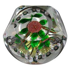 RARE Antique Baccarat Faceted Copper Camomile and Millifiori Garland Paperweight