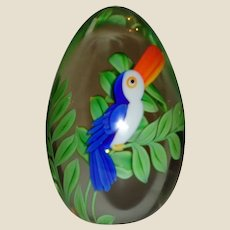 """Orient & Flume Art Glass 1992 """"Toucan"""" By Bruce Sillars, Limited Edition"""