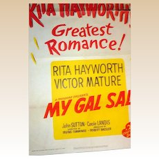 "1949 Litho Movie Poster - Rita Hayworth and Victor Mature  ""My Gal Sal"" - Numbered Limited Edition"
