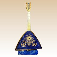 Russian Antique 800 Gilt Silver And Lapiz Lazuli Balalaika,  Exquisite and Unusual Miniature, With Base