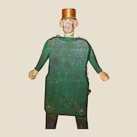 Folk Art Vintage Carved Wood Jointed Man With Metal Hat!