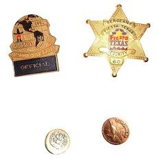 "LARRY HAGMAN'S ESTATE - Blackinton Star Badge, ""Official"" Hat Badge, Euroducks Pin, and Commemorative Button"