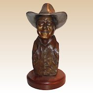 LARRY HAGMAN - Bronze Portrait Bust, Signed,  Dated, Number ONE of an edition of 100