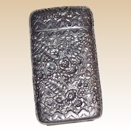 TIFFANY Sterling Silver Match Safe (Vesta), Marvelous Repousse Fern And Foliate Front And Reverse, Circa 1885