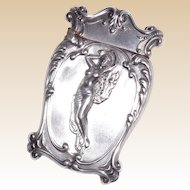 American Sterling Silver Match Safe (Vesta) - Foliate Borders, Partially Draped Woman, Circa 1900.