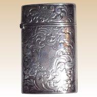 Gilbert Sterling Silver Match Case (Vesta) - Engraved Scrolling - Circa 1900