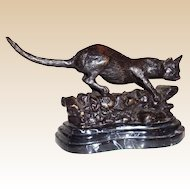Bronze Sculpture - Wild Cat - Signed Mene, Well-Listed Artist