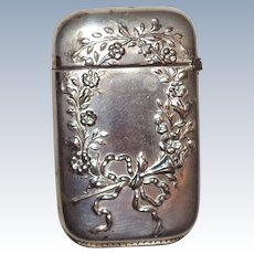 Bristol Silver-Plated Antique Match Safe (Vesta) With Floral Wreath And Ribbon Decoration, Circa 1900