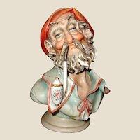 "Borsato - ""Man With Pipe"" - Wonderful Porcelain Sculpture -Great Detail - Great Humor!"