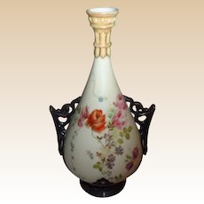 Royal Worcester Hand-painted Vase w/Silver Overlay, c. 1895 - 1910