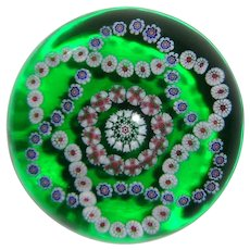 Antique Baccarat Trefoil Millefiori Garlands On Green-Flash Ground Large Paperweight, circa 1850s