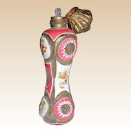 Antique Bohemian Perfume Bottle, Hand-Painted With Enamel Florals and Gilding,  circa mid 1800s, So Very Elegant!