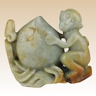 Jade Monkey With Peach (Symbol of Long Life) - Nicely Carved and Adorable