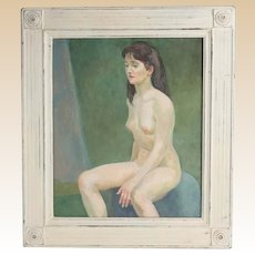 """""""Seated Nude On Blue Chair"""" Oil on Board - by Well-Listed Artist Raphael Soyer"""