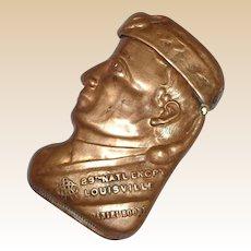 Rare Antique American Brass Figural Match Safe (Vesta) - Daniel  Boone - 28th Nat'l Encampment - c 1895