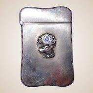 Antique Sterling Silver and Enamel Fritsche Match Safe (Vesta),  BPOE Emblem,  c 1900