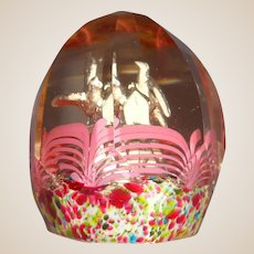 Antique Bohemian-Czechoslovakian Faceted Pair Of Doves On A Mailbox Sulphide Paperweight