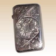 Antique Sterling Silver Match Safe (Vesta) - Engraved Owl, Scroll and Stylized Palmette Decoration to front; Floral Decoration to Back Circa 1880
