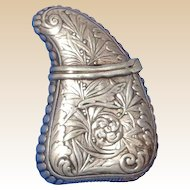 Antique Gorham Sterling Silver Match Safe (Vesta) In Tooth Form With Repousse Floral Decoration