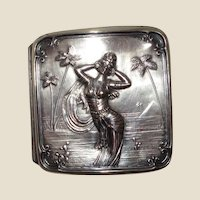 Antique Repousse Bristol Silver-Plated Cigarette Case With Exotic Woman, Palm Trees, C 1895