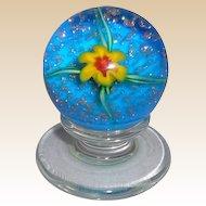 Charles Kaziun, Jr. (1919-1992) - Yellow Lily Miniature Pedestal Paperweight