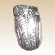Antique Sterling Silver Match Safe (Vesta) In The Form Of A Wedge With Repousse Graining.