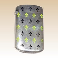 Antique Silver And Enamel Match Safe (Vesta) With Fleur de lis by Ludwig, Redlich, & Co.