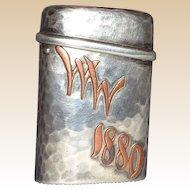 TIFFANY Antique Silver And Copper Match Safe (Vesta) - c. 1879
