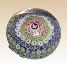 Unusual Superb  St. Louis Antique Dated Hound Silhouette And Concentric Millefiori Paperweight c. 1848