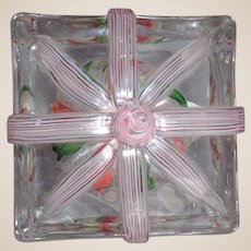 """STEVEN LUNDBERG - Personally Signed/Dated 1993 """"The Gift"""" Crown In Crystal Block-Shaped Paperweight"""