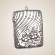 Antique LISTED Gorham Sterling Silver Match Safe (Vesta), Swirled Rib And Stylized Floral Decoration, C. 1888