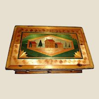 Antique Straw Box, Very Intricately Detailed, Made By a Napoleonic  Prisoner of War, With Compartments and Mirror